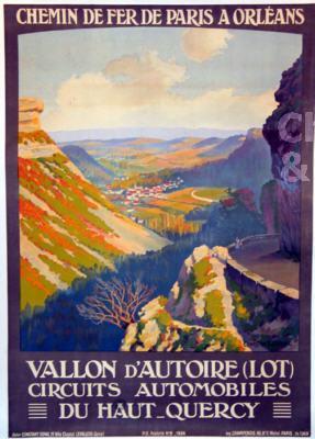 Vallon d/'Autoire Affiche chemin de fer Paris Orléans