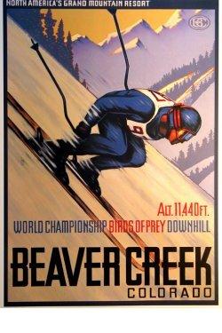 POSTER BEAVER CREEK COLORADO SKIING SNOWBOARD WINTER SPORT VINTAGE REPRO FREE SH